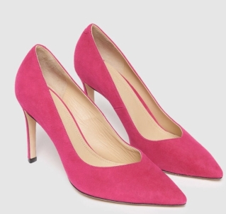 Sandro V-shaped pink suede pumps